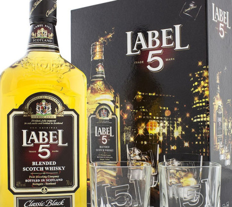 Label 5 whisky 2 poháre 0,7 l 40%