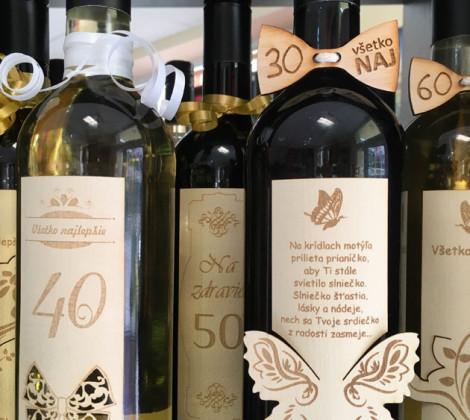 Darčekové víno drevená etiketa 0,75 l